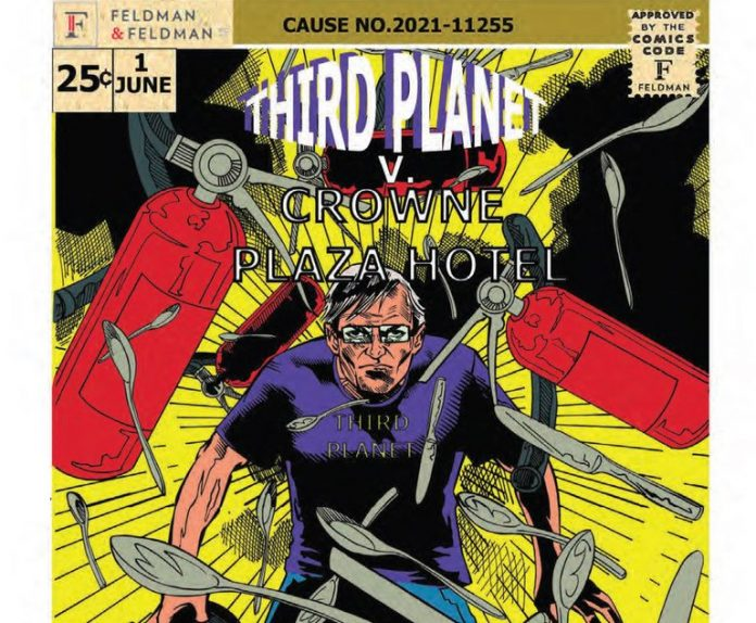Comic book cover page of Third Planet V. Crowne Plaza Hotel. Credit: Comic book page from court documents